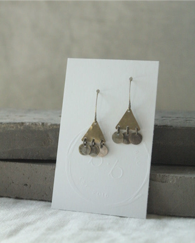 Brass Triangle and Disc Earrings