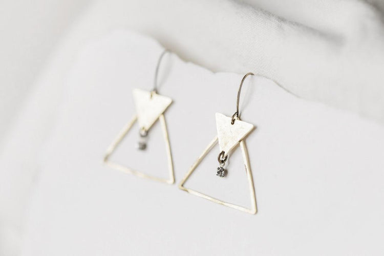 Double Triangle with Swarovski Crystal Earrings