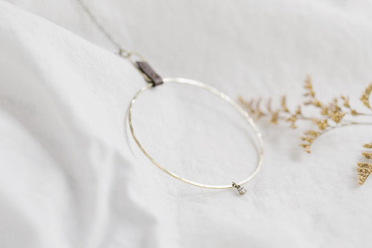 n0012 Large Brass Circle with Leather & Swarovski Crystal