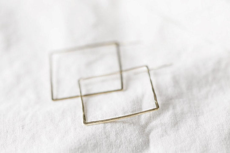 Open Brass Square Earrings