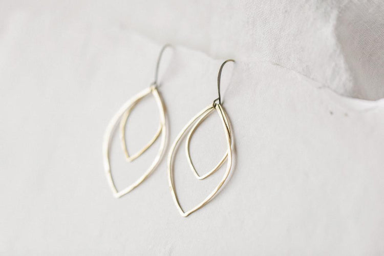Open Brass Leaf Earrings