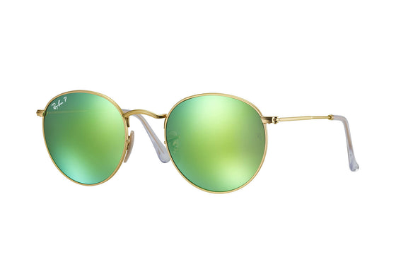 RayBan ROUND METAL Gold Green Flash RB3447 112/P9