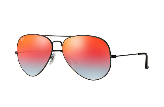 RayBan AVIATOR Black Orange Gradient Flash RB3025 002/4W