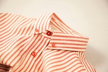 Red and White Ticking Stripe Button Up