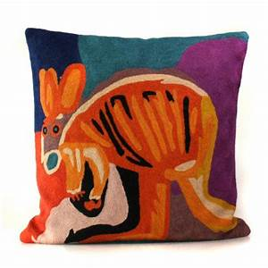 Cushion (filled) - Aboriginal Artist - Karen Barnes - Kangaroo