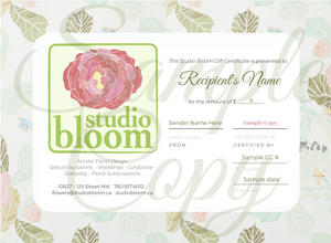 Studio Bloom Gift Certificate