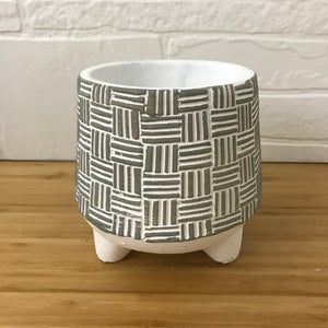 "4"" Basket Weave Three Footed Plant Pot"