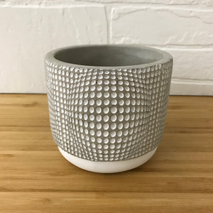 "4"" concrete pattern plant pot - dots"