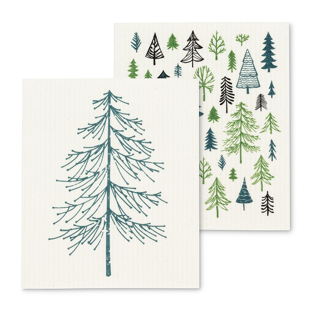 trees dishcloths, set of 2