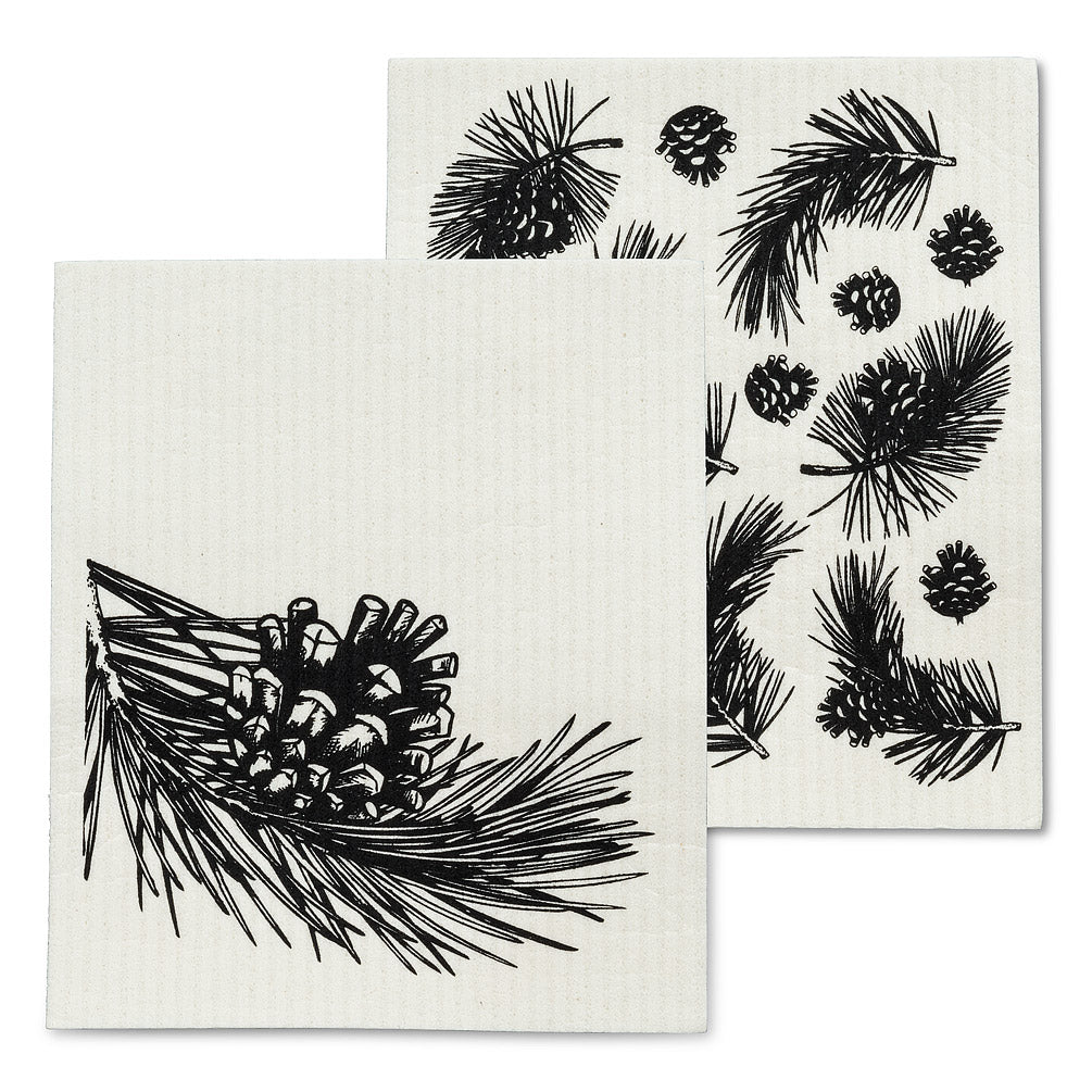 pinecone & branch dish cloths, set of 2