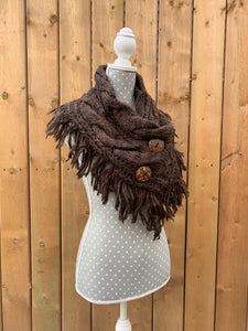 button up fringe scarf - brown