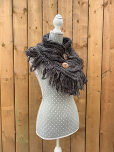 button up fringe scarf - grey