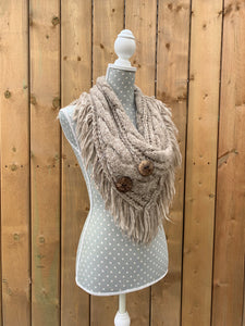 button up fringe scarf - light brown