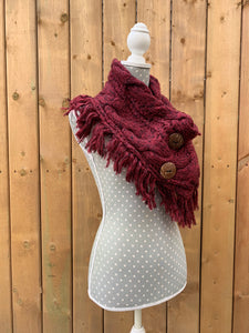 button up fringe scarf - red