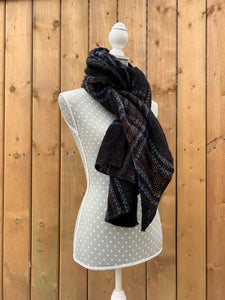 long scarf - black plaid