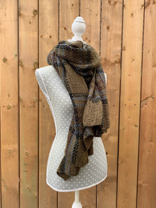 long scarf - brown plaid