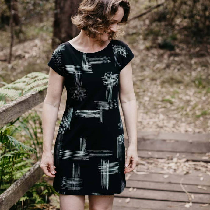 Cotton Dress with crosshatch