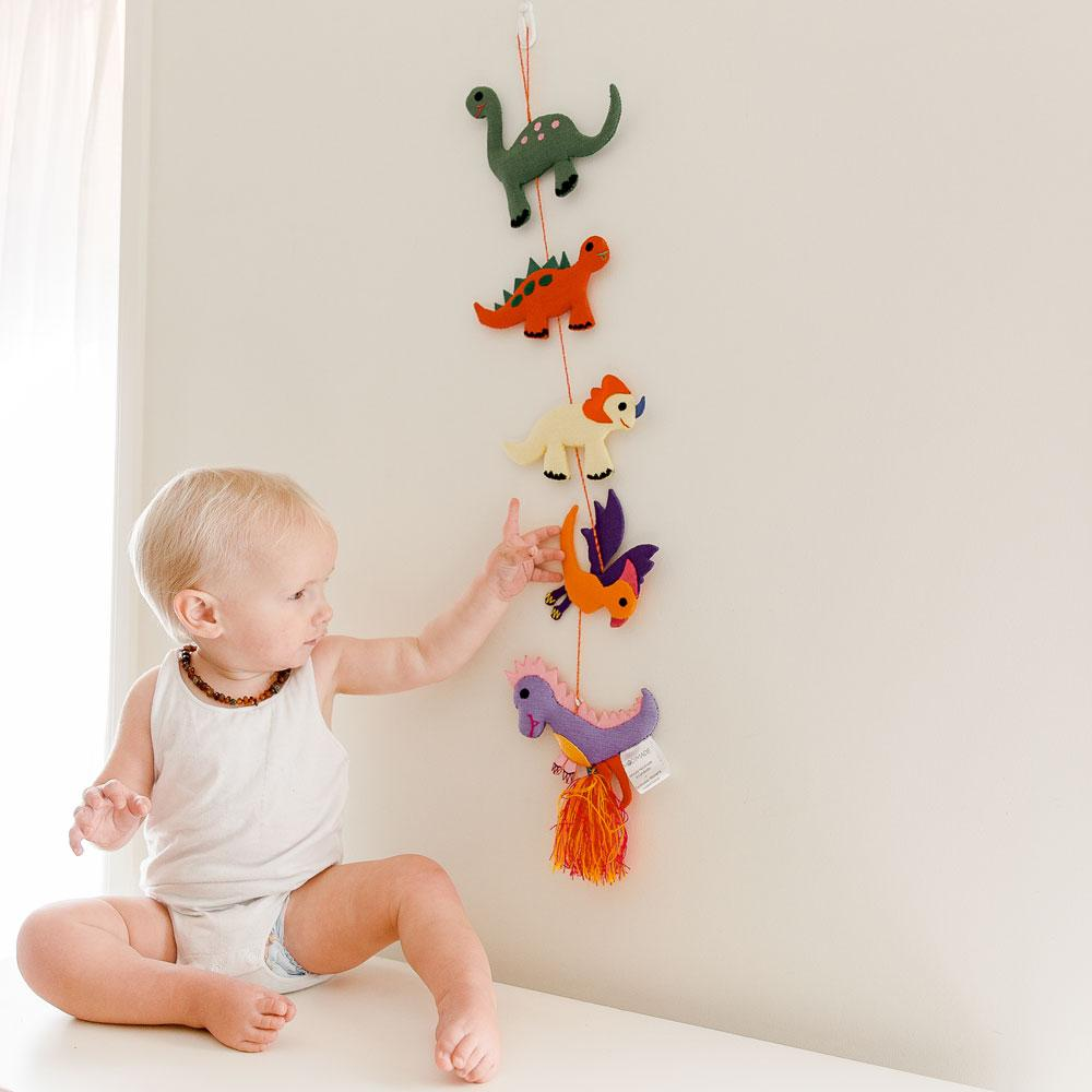 Ethically made dinosaur themed decor hanging mobile