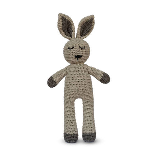 Fair and ethically made sleepy snoogu toy. Bunny made by Cambodia Knits, buy in Australia here.