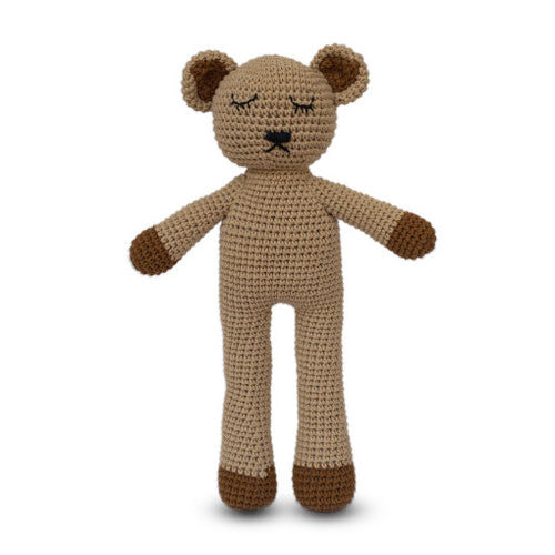 Fair and ethically made sleepy snoogu toy. Teddy Bear made by Cambodia Knits, buy in Australia here.