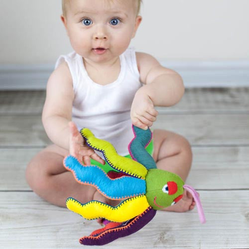 Fair and ethically handmade octopus rattle for baby and toddlers