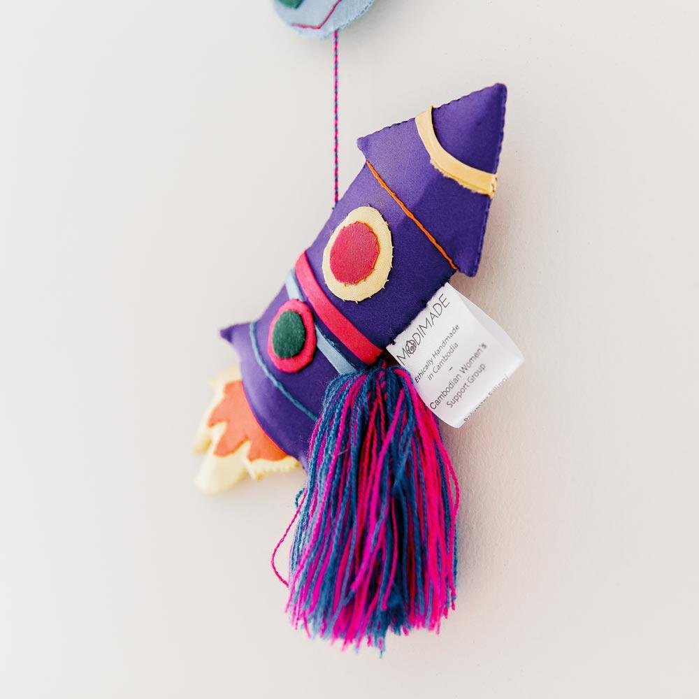 Handmade Space themed hanging mobile with rockets and planets