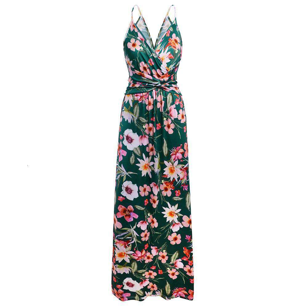 Tropical Jungle Leaf Boho Long Dress