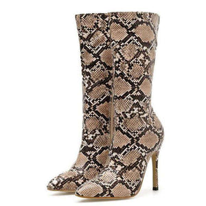Snake Pattern High Heel Boots - HCWP