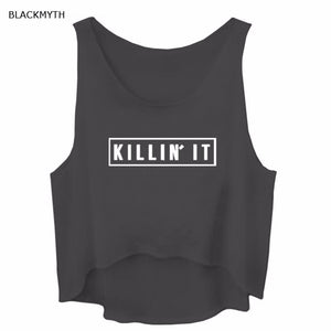 Tank Tops Women Killin It Letter Print - HCWP