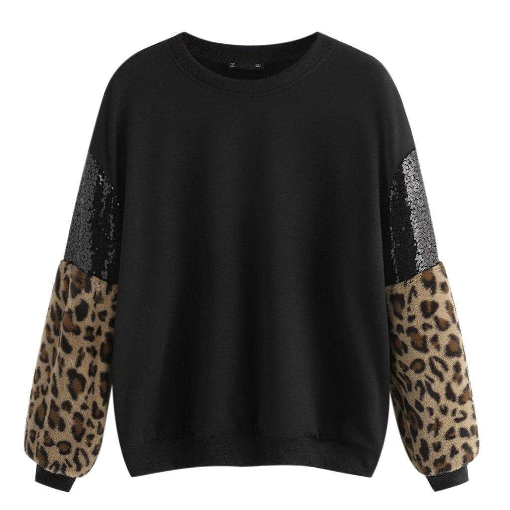 Pullover Leopard Patchwork Casual