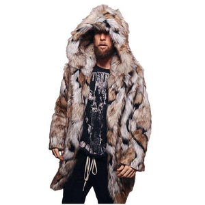 NY Winter Men Faux Fur Hooded Jacket