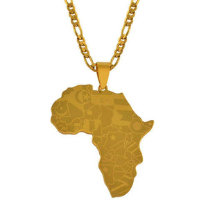 Africa Map With Flag Necklaces - HCWP