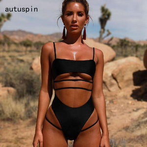Cut Out Bathing Suits One Piece - HCWP