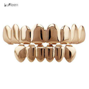 LuReen Gold Teeth Grills Top & Bottom Grills Hiphop Tooth Grills Dental Halloween Vampire Cosply Teeth Caps Jewelry LD0041 - HCWP