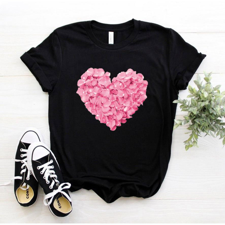 pink heart flower tshirt