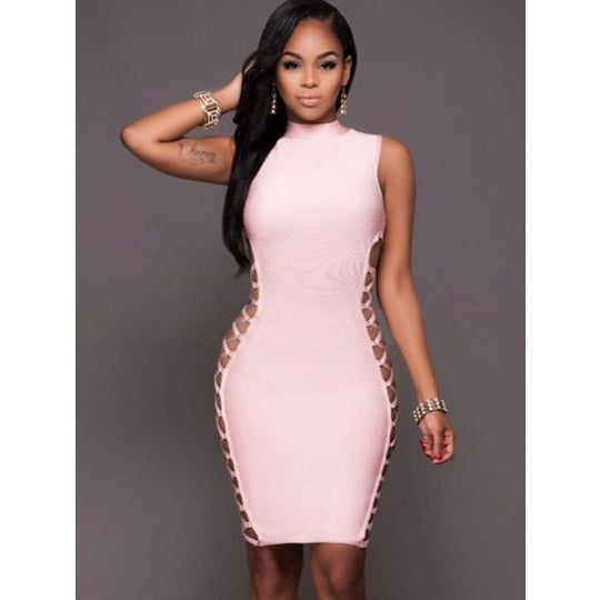 Pink Bandage Women's Sexy Dress