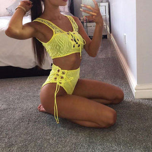 Yellow Lace High Waist Bikini