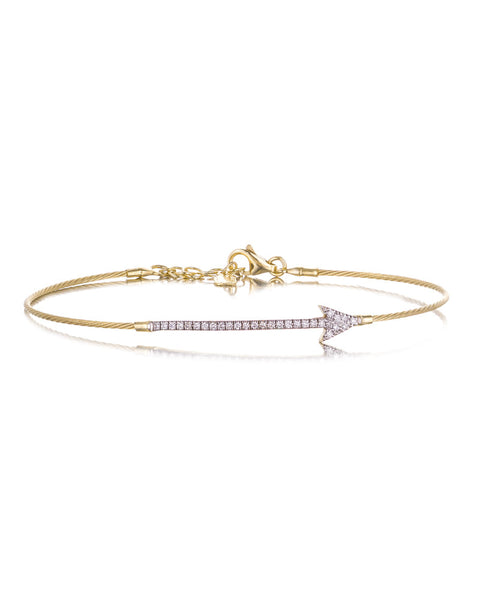 14ct Yellow Gold Diamond Arrow Bracelet