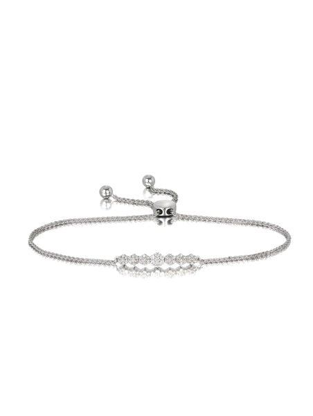 10ct White Gold Diamond Flower Bracelet