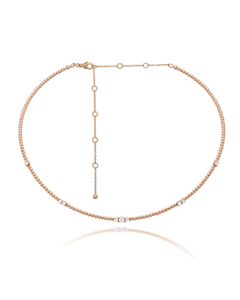 18ct Rose Gold Diamond Necklet