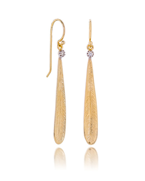 14ct Yellow Gold Diamond Leaf Earrings