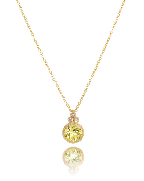 14ct Yellow Gold Lemon Topaz & Diamond Pendant with Chain