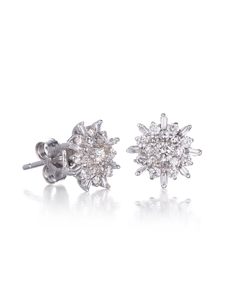 10ct White Gold Diamond Cluster Earrings