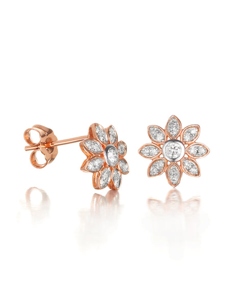 10ct Rose Gold Diamond Flower Earrings