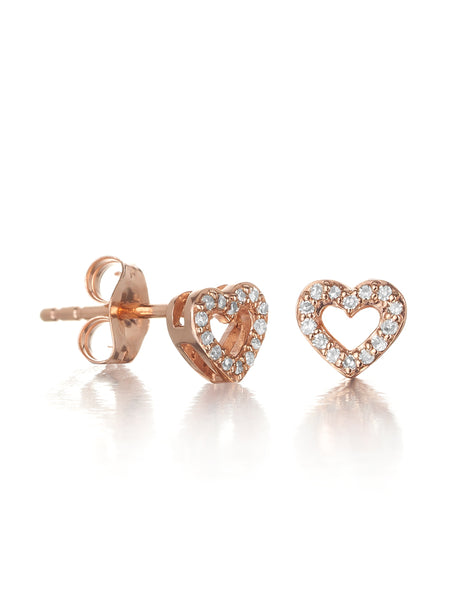 10ct Rose Gold Diamond Heart Earrings