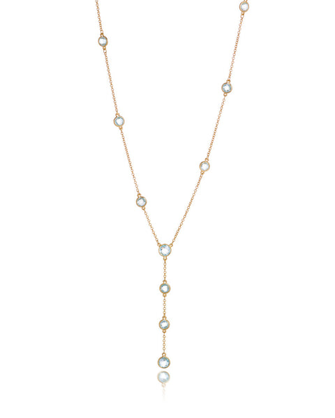 14ct Yellow Gold Blue Topaz Necklet