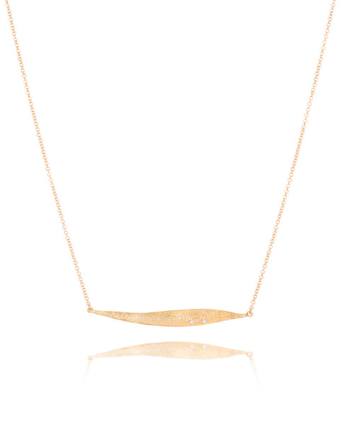 14ct Yellow Gold Diamond Leaf Necklet