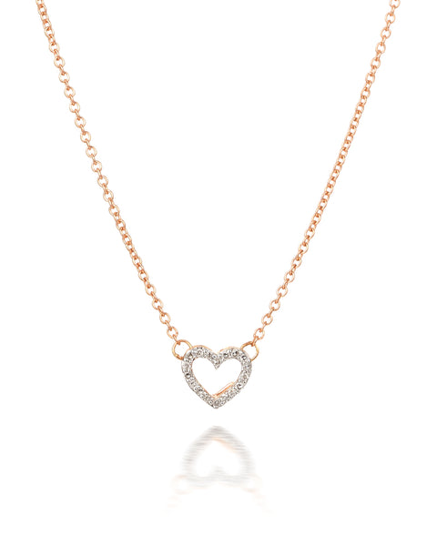 10ct Rose Gold Diamond Heart Necklet