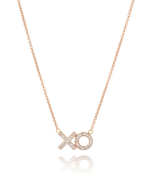 10ct Rose Gold Diamond 'XO' Necklet