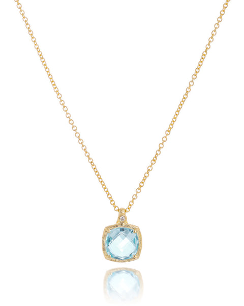 14ct Yellow Gold Blue Topaz & Diamond Pendant with Chain